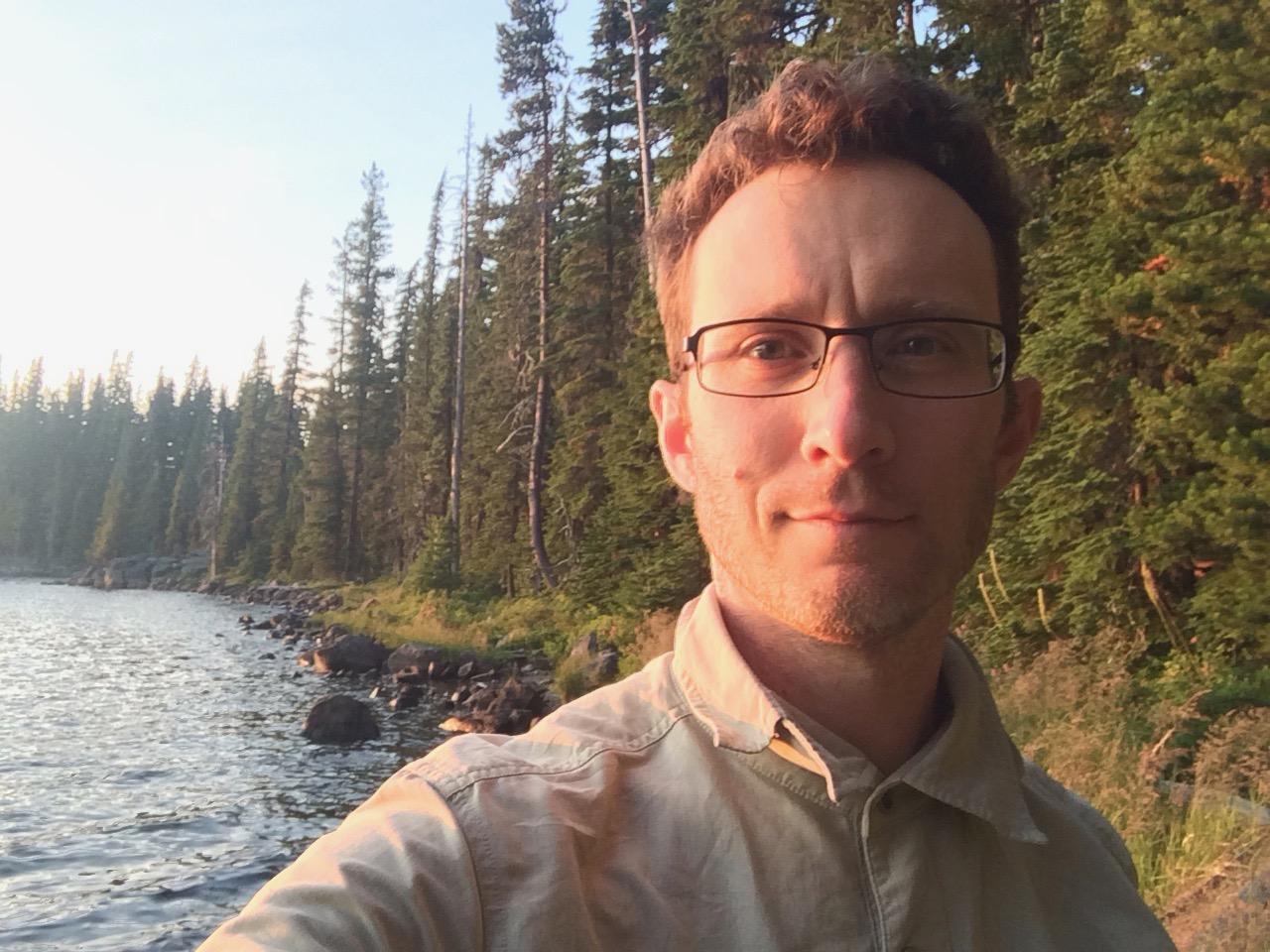 Jayson on the shores of Waldo Lake