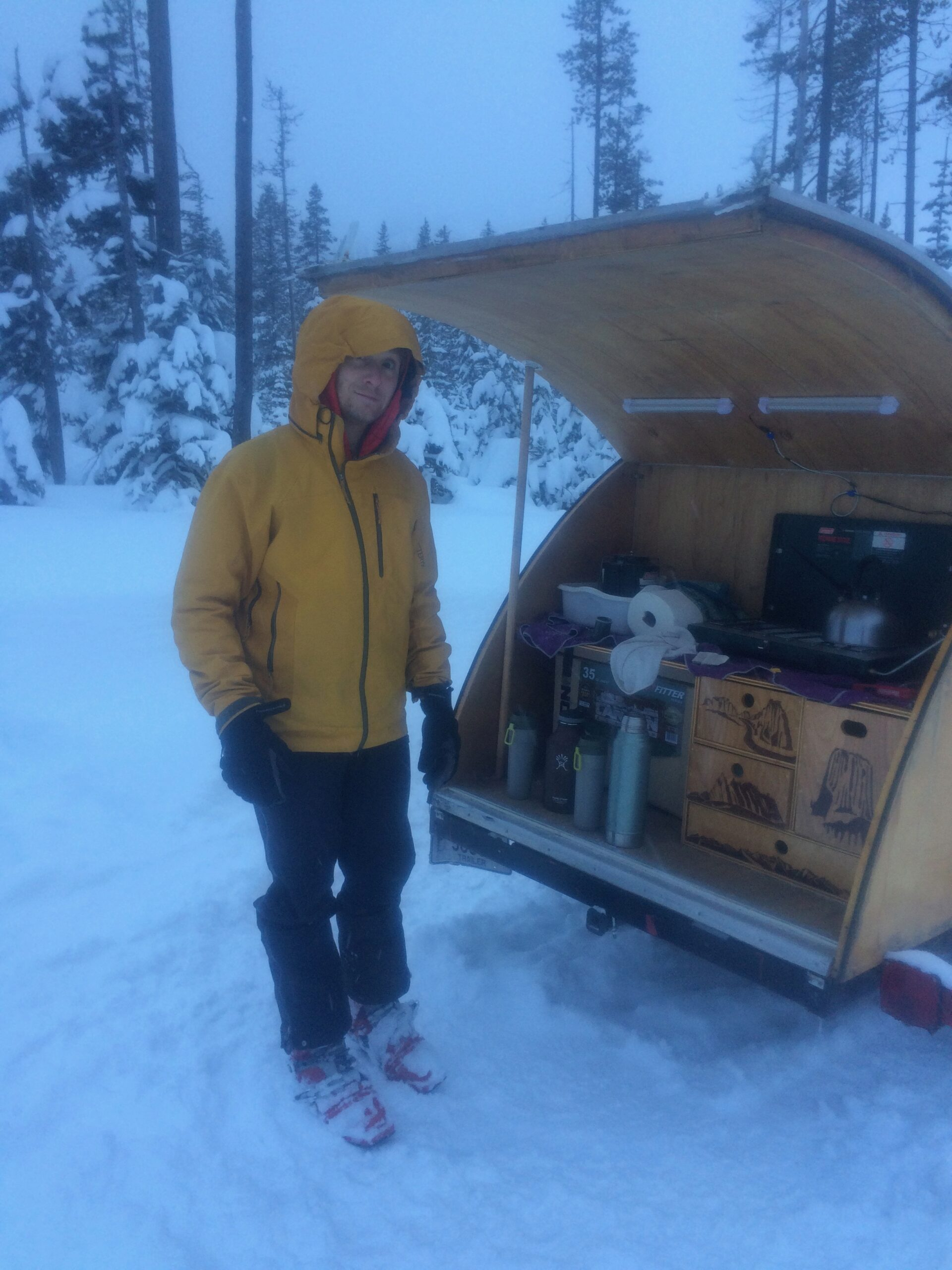 Jayson winter camping with a tear drop trailer.